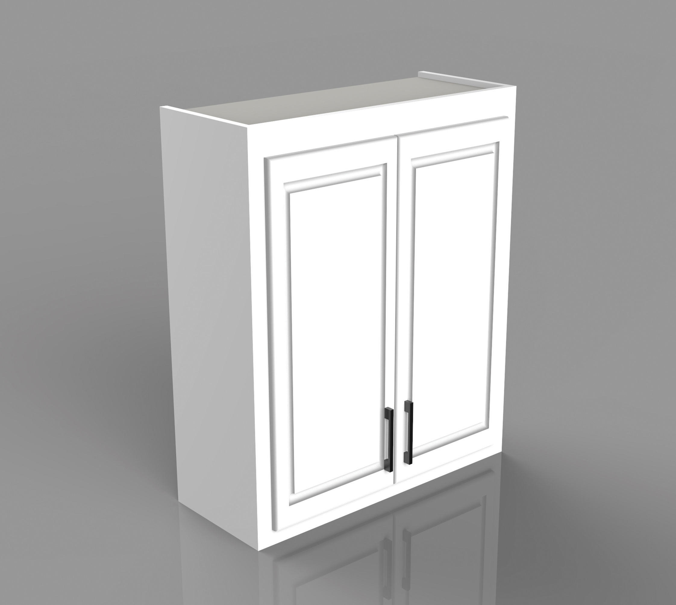 Example of a residential double door upper cabinet