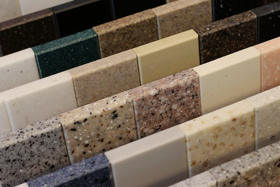Showing solid surfaces marble and granite samples